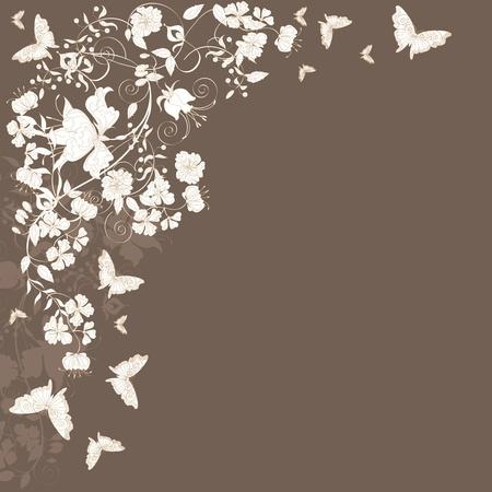 refine: Decorativi marrone floral background con fiori e farfalle.