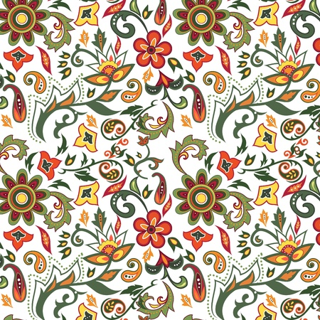 leafs: Colorful seamless with eastern patterns on white background.