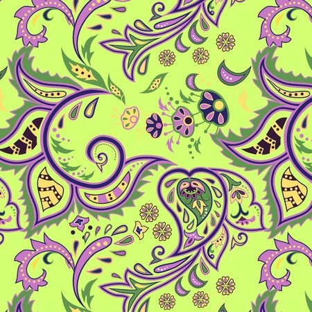 Colorful seamless with eastern patterns on green background.