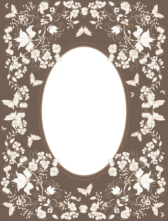 symmetric: Decorative brown floral background with  flowers and butterflies.  Illustration