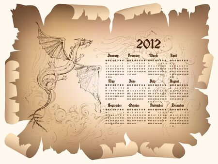 Calendar 2012 with graphic symbol of black dragon.  Stock Vector - 9492915