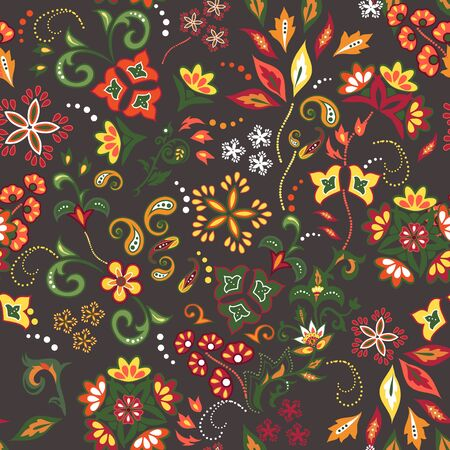 Colorful seamless with eastern patterns on dark background.  Vector
