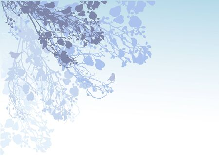 Light blue background with branches and birds.