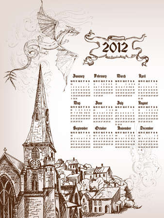 Calendar 2012 with graphic symbol of black dragon and old city. Stock Vector - 9570563