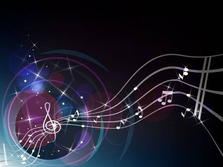 Dark blue background with musical elements: clef, stave, notes.