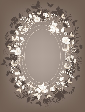 Decorative brown floral background with  flowers and butterflies frame.  Vector