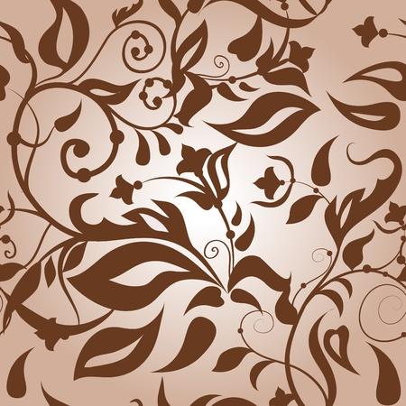 kahverengi: Classic floral seamless light brown background.  Çizim