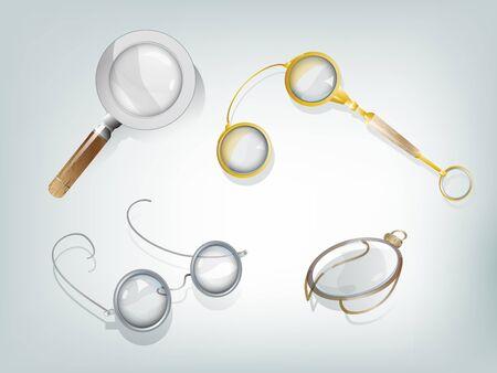 monocle: Set of 4 retro optic devices: magnifier, glasses, lorgnette, monocle.