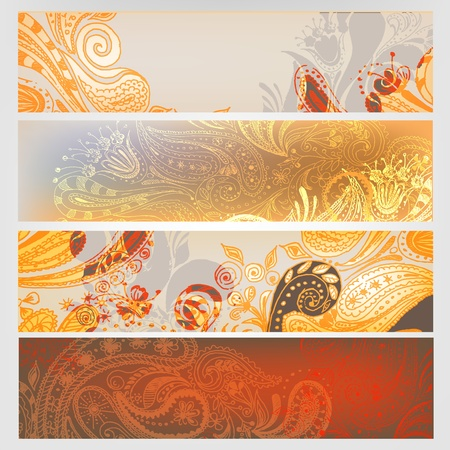 Eastern stylish hand drawn banners set. Stock Vector - 9623160