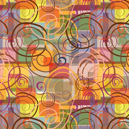 Abstract  seamless background with swirls and colorful rectangles.  Illustration