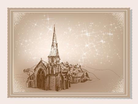 Old fashioned vintage winter postcard.