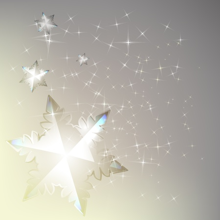 Light winter background with shining sparks and snowflake. Illustration
