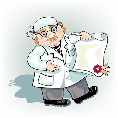 smock: Optimistic doctor in smock with prescription.