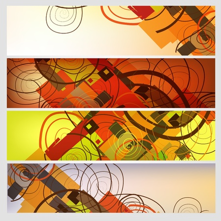 Set of 4 abstract horizontal banners.  Illustration
