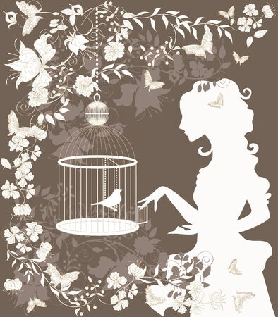 Vintage background with flowers, bird and girl silhouette. Vector