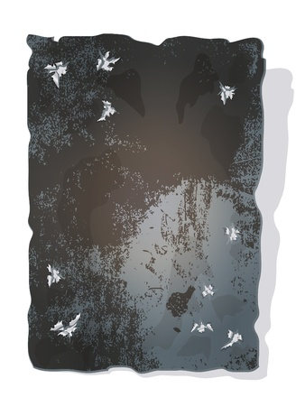 vertical composition: Iron plaque background with few bullet holes.  Illustration