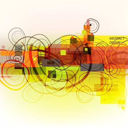 Abstract background with swirls and colorful rectangles. Stock Vector - 9711557