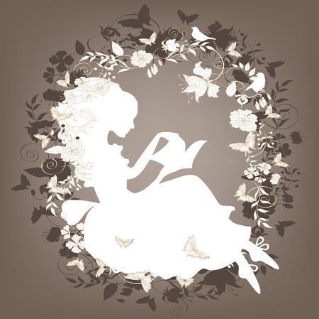 refine: Vintage background con fiori, uccelli e ragazza lettura libro. Vettoriali