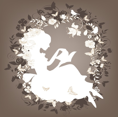Vintage background with flowers, bird and girl reading book. Vector
