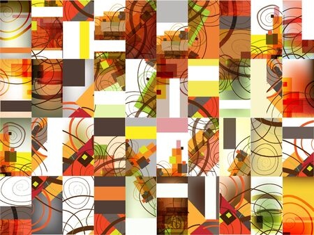 rectangle patterns: Set of 40 abstract vertical abstract multicolored calling cards.  Illustration