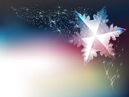 Winter festive background with shining sparks and snowflakes.