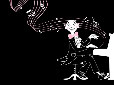 Funny musician is playing piano, black background.  Vector