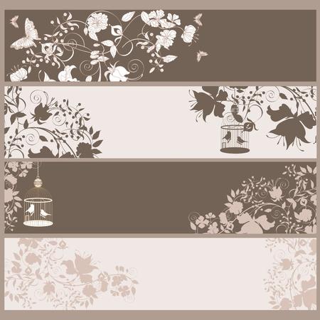 refine: Set di 4 banner orizzontale vintage fiori e uccelli in gabbia.