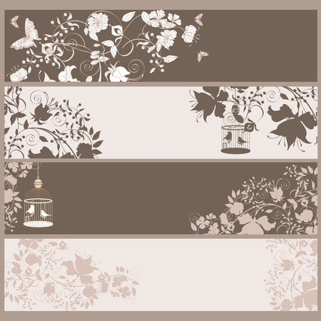 Set of 4 vintage horizontal banners flowers and  birds in cage. Vector
