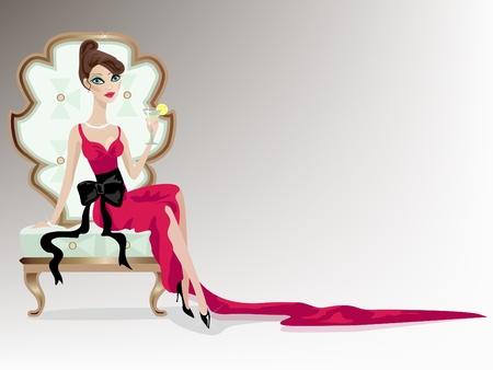 socializando: Mujer joven de lujo en vestido rojo.