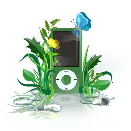 earphones: Green iPod with earphones in grass.  Illustration