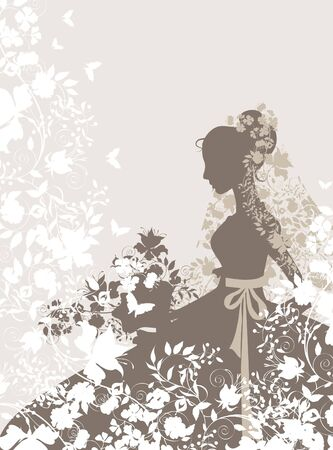 Vintage background with flowers and bride silhouette.