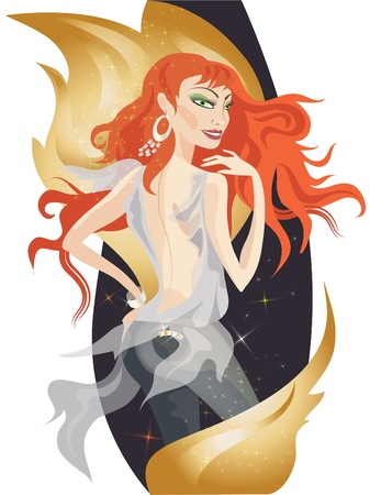 redheaded: Beautiful redheaded girl with decorative golden fire flames.