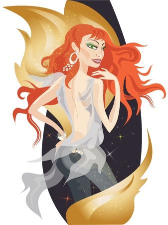 socializando: Hermosa chica pelirrojo con oro decorativa fuego llamas.  Vectores