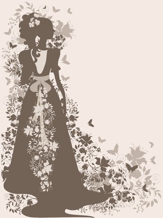 Vintage background with flowers and bride silhouette. Stock Vector - 9815608