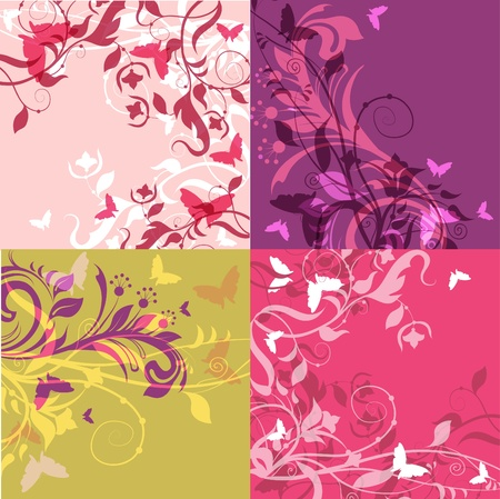 stylization: Set of 4 classic floral multicolored decorative backgrounds.