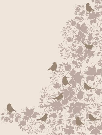 Decorative floral background with flowers and birds.
