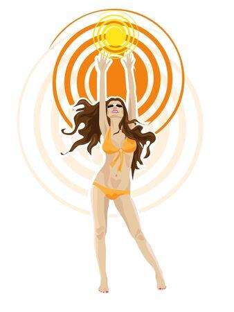 Young beautiful brunette girl in bikini.