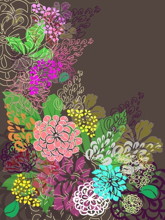 Multicolored floral hand drawn background. Vector