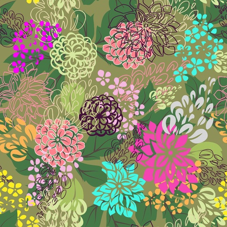 . Multicolored floral seamless background. Illustration