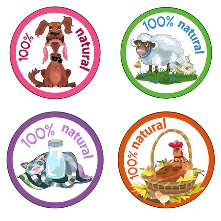 Set of four funny pets labels for natural goods.  Vector