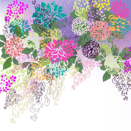 Multicolored floral hand drawn white, violet background. Stock Vector - 10057495