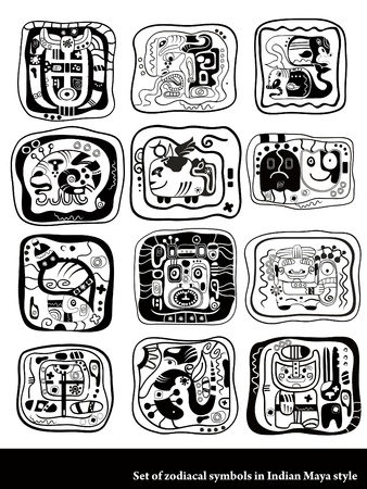 zodiacal: Set of graphic zodiacal symbols in Indian Maya style.