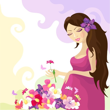butterfly and women: Pregnant woman with colorful flowers. Illustration