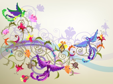 Decorative colorful background with stylized flowers and birds patterns.
