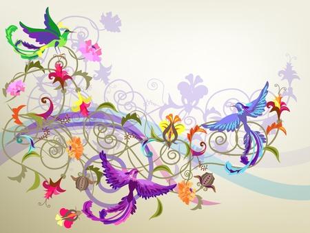 ave del paraiso: Fondo colorido decorativo con flores estilizadas y patrones de p�jaros.