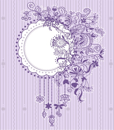 Violet vintage decorative floral background with place for text. Vector