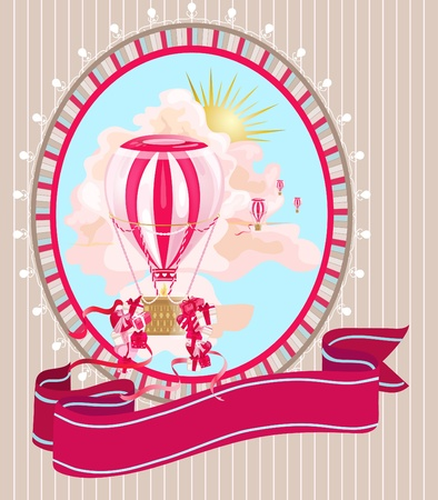 Festive postcard with air balloons and presents.  Illustration