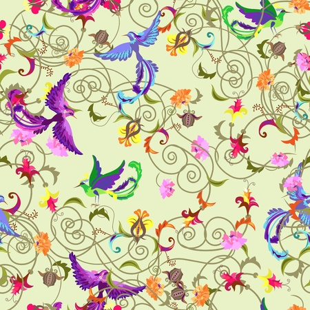 bird of paradise: Decorative colorful  seamless background with stylized flowers and birds patterns.