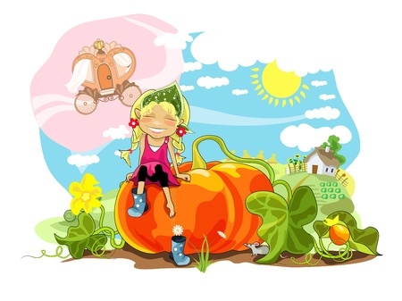 Funny girl sitting on big pumpkin, rural landscape.