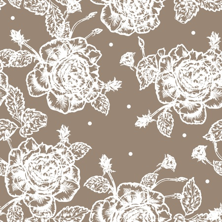 brawn: Beautiful vintage styled seamless background with white rose pattern.